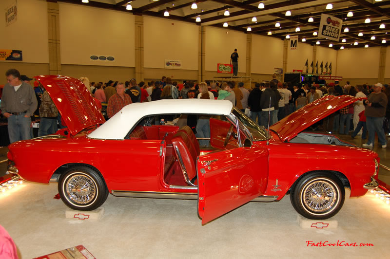 The 2009 World of Wheels Show in Chattanooga, Tennessee. On Jan. 9th,10, & 11th, Pictures by Ron Landry. Chevrolet Corvair convertible, with actual wire wheels.