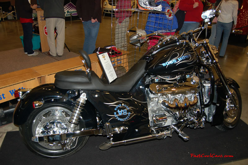 The 2009 World of Wheels Show in Chattanooga, Tennessee. On Jan. 9th,10, & 11th, Pictures by Ron Landry. Boss Hoss V-8 motorcycle. very nice looking ride.