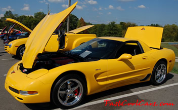 2002 Millennium Yellow Z06 Corvette - 405 HP - 454HP after tune and bolt ons - CCW SP500 polished aluminum wheels 18 front 19 rears, dual Borla Stingers, Vara-Ram, X-pipe, B&M short throw ripper shifter.