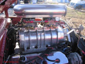 1969 Dodge Dart Hemi. Blown V8, side of blower