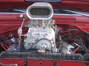 1969 Dodge Dart Hemi. Blown V8 front of the blower