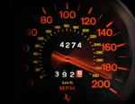 Ferrari Speedometer hitting 190 MPH, with only 4,274 miles on it, nice.