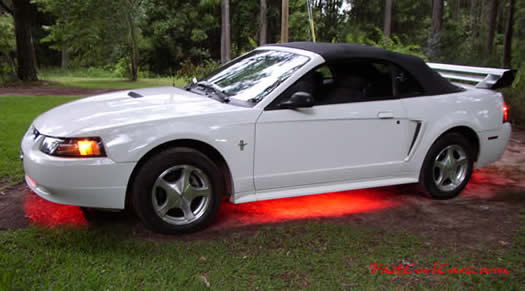 2001 Mustang Convertible - Tinted windows Mach 3 spoiler red under car neon lights it has custom flames painted on the hood and sides that change about ... & Fast Cool Cars - Ford - Mercury - Lincoln - DMC - Pantera markmcfarlin.com