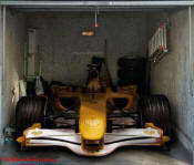Formula one Race car, on garage door decal.