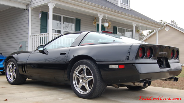 My third Corvette, that I have now, a 1990 L98 6 speed Chevrolet Corvette, Borla exhaust from cats back, Chrome ZR1 17 inch wheels and new tires. New glass top, low mileage, and much more