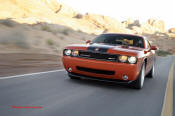New Dodge Challenger, 6.1 V8 Hemi, 425 crank horsepower, 420 crank foot pounds of torque. SRT8