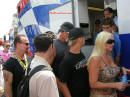 Hulk Hogan, his wife Linda, and their son Nick leaving the rear of the Foose trailer to go make announcements.
